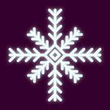 Icon snowflake with the effect of neon light. Vector image. The element of design and interface.  Stock Photo