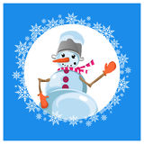 Icon snowman. Jolly Snowman in mittens. Snowman with a bucket on his head. The nose-carrot. Snowflakes in Skoog Royalty Free Stock Photography