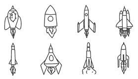 Icon Spacecraft rocket  hand drawn vector set art illustration.  Stock Photo