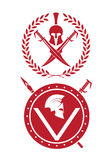 Icon a Spartan helmet in a laurel wreath. On the image  is presented icon a Spartan helmet in a laurel wreath Royalty Free Stock Images