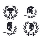 Icon Spartan warrior in the laurel wreath. On the image presented Icon Spartan warrior in the laurel wreath vector illustration