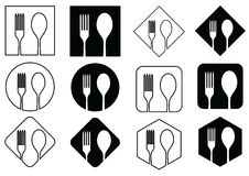 Icon spoons and forks on geometric figures. Icon spoons and forks on various geometric figures in black and white tone Royalty Free Stock Images