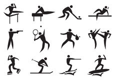 Icon of sport man in the different activities. Royalty Free Stock Photos