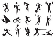 Icon of sport man in the different activities Stock Photography