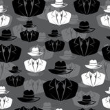 Icon spy, secret agent, Vector seamless background Stock Photography