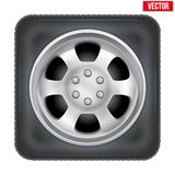 Icon of square car wheel on white background Stock Photography