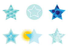 Icon star. A set of blue stars with different patterns on a white background Royalty Free Stock Photography