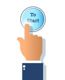 Icon start button  on white background and finger push t. O start Stock Images