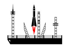 Icon start of the rocket. Royalty Free Stock Photos