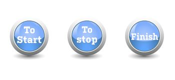 Icon start,stop and finish button isolated. On white background and finger push to start Stock Photos