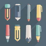 Icon stationery and brushes of color set Stock Photography