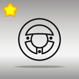 Icon steering wheel. Black steering wheel Icon button logo symbol concept high quality on the gray background vector illustration