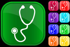 Icon of stethoscope. On shiny buttons Vector Illustration