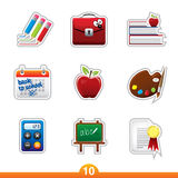 Icon sticker set - education Stock Images
