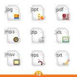 Icon sticker set - files Royalty Free Stock Images