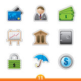 Icon sticker set - finance Royalty Free Stock Photo