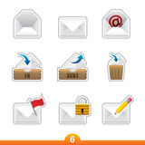 Icon sticker set - mail Stock Images