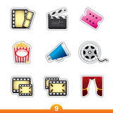Icon sticker set - movie and film Royalty Free Stock Photography