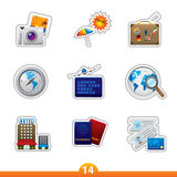 Icon sticker set - travel Stock Image