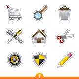 Icon sticker set - web universal Stock Photo