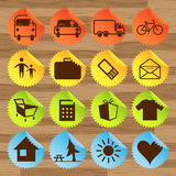 Icon stickers- transport, tourism Stock Photography