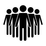 Icon 4 people stickman model for group symbol. Icon sticks with black color that describes the expression or message for individuals or teams Stock Images