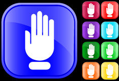 Icon of stop hand. On shiny square buttons Vector Illustration