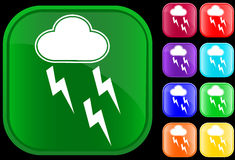Icon of storm. On shiny square buttons Stock Images