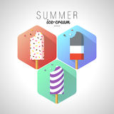 Icon Summer Ice Cream with Text Stock Photos