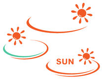 Icon with sun and background Stock Photos
