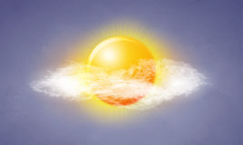Icon sun with clouds Royalty Free Stock Image