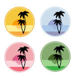 Icon with sun and palm trees Stock Photos