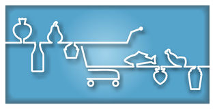 Icon with supermarket trolley end foodstuff. With text place Royalty Free Stock Images