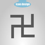 Icon swastika on a gray background. Vector illustration. The symbol of Hinduism Royalty Free Stock Photos