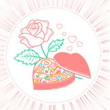 Icon Sweetest Day. Icon for Valentine`s day in the form of a box of chocolates in the form of a heart and roses. Icon in the linear style Royalty Free Stock Photo