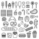 Icon of sweets, fast food, meat and fish. Vector food icon set Royalty Free Stock Photography