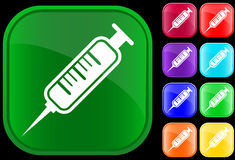 Icon of syringe. On shiny buttons Stock Illustration