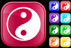 Icon of Tao faith. Yin Yang, on shiny square buttons Stock Illustration
