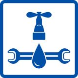 Icon with tap, drop and wrench Stock Photography