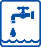 Icon with tap and water wave. Graphic icon with tap and blue water wave in frame vector illustration
