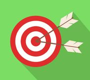 Icon target with arrows in flat design. Stock vector illustration, eps 10 vector illustration