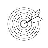 Icon of Target with dart. Thin line design. Vector illustration stock illustration