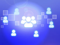 Icon of team with leader on glow blue background Royalty Free Stock Images