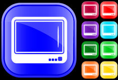 Icon of television. On shiny square buttons Vector Illustration