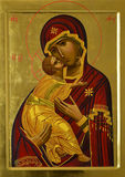 Icon of Tenderness. A copy of the icon known as Our Lady of Vladimir, performed i Valeri Vdovin and Vdovina Tamila Stock Photos