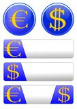 Icon theme with the euro and dollar Royalty Free Stock Photo