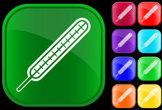 Icon of thermometer. On shiny buttons Stock Photography