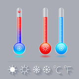 Icon thermometer set, cold, hot, and the sun Snowflake, Celsius and Fahrenheit. Royalty Free Stock Images