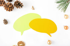 Icon thoughts, branch Christmas tree, pine cone, orange, Christm Stock Photos