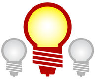 Icon with three bulbs Stock Photography
